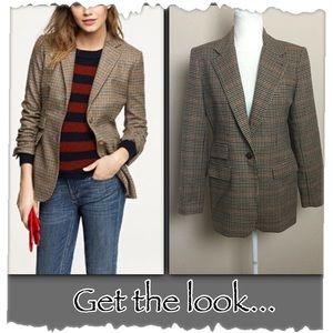 Vintage Tan Wool Plaid One Button Blazer